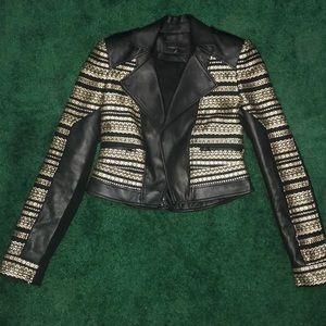 BCBG Max Azria cool leather jacket size xxs